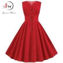 Las mujeres verano rojo Vintage vestido Polka Dot 50S 60S Pin Up Rockabilly De talla grande Botón De línea Vestidos De Fiesta 2021