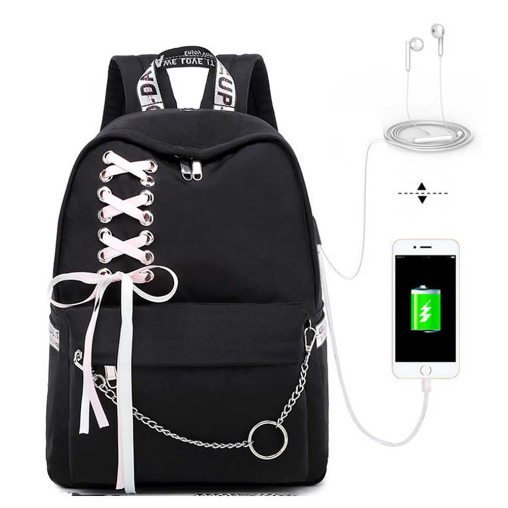 Image 2 - Fashion Girl Schoolbag Female Students Laptop Backpack Kids School Bags For Teenage Girls Women Gray Backpacks Mochila Escolar-in School Bags from Luggage & Bags