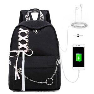 Image 2 - Fashion Girl Schoolbag Female Students Laptop Backpack Kids School Bags For Teenage Girls Women Gray Backpacks Mochila Escolar