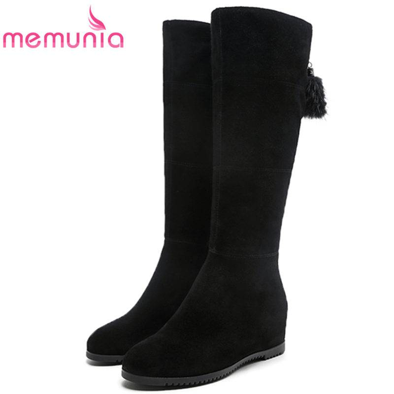 MEMUNIA HOT SALE 2018 fashion zip cow suede leather boots height increasing mid calf boots for women round toe winter bootsMEMUNIA HOT SALE 2018 fashion zip cow suede leather boots height increasing mid calf boots for women round toe winter boots
