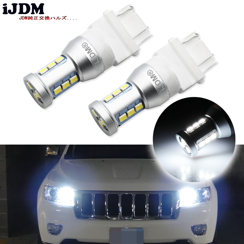iJDM 1400 Lumens Xenon White 144-SMD 3157 3357 3457 4114 3156 <font><b>T25</b></font> <font><b>LED</b></font> Bulbs For 2011-up Jeep Compass For Daytime Running Lights image