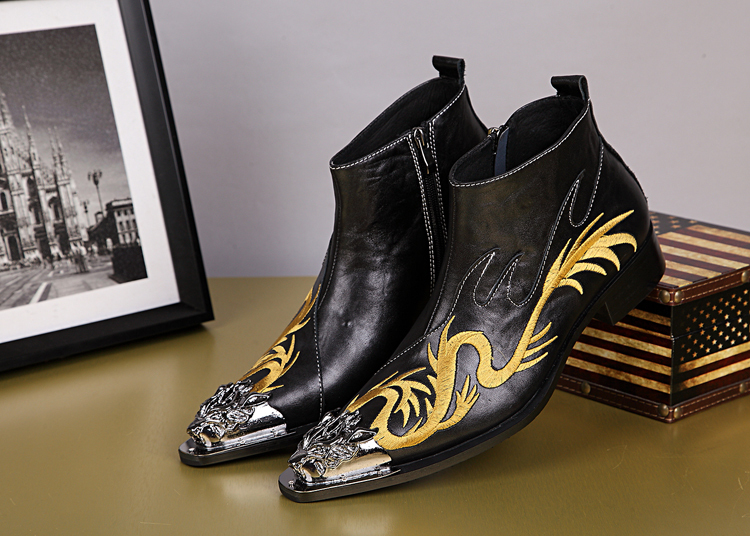 3197ee3c3 Western Style Black, Red Ankle Boots For Men Metal Toe Oxford Shoes Gold  Embroidery Gragon Bota Masculina Plus Size Men Boots-in Men's Boots from  Shoes on ...