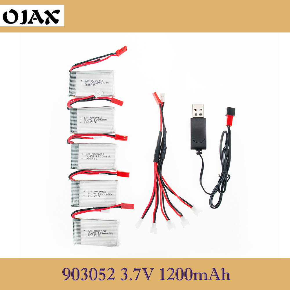 OJAX 5pcs 3.7V 1200mAh 25C Drone Rechargeable Lipo Battery 903052 + usb Charger Set For RC SYMA X5SW X5 M18 H5P камера заднего вида mydean vcm 421c для renault logan 2009 2014 sandero 2009 2014