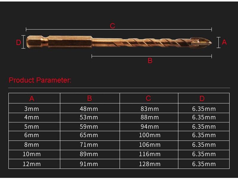 JUSTINLAU 7Pcs/set Cross Hex Tile Bits Glass Ceramic Concrete Hole Opener Alloy Triangle Drill Size 3/4/5/6/8/10/12 mm
