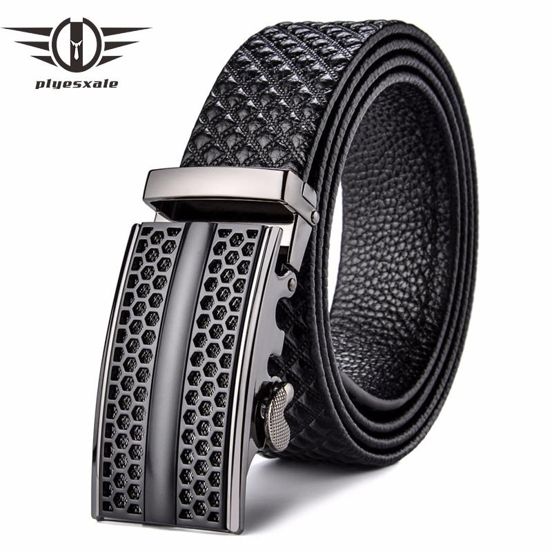 Plyesxale Genuine Leather Belt Men Luxury Brand Mens Dress Belts Designer Formal Waistband Automatic Buckle Male Belt 2018 B62