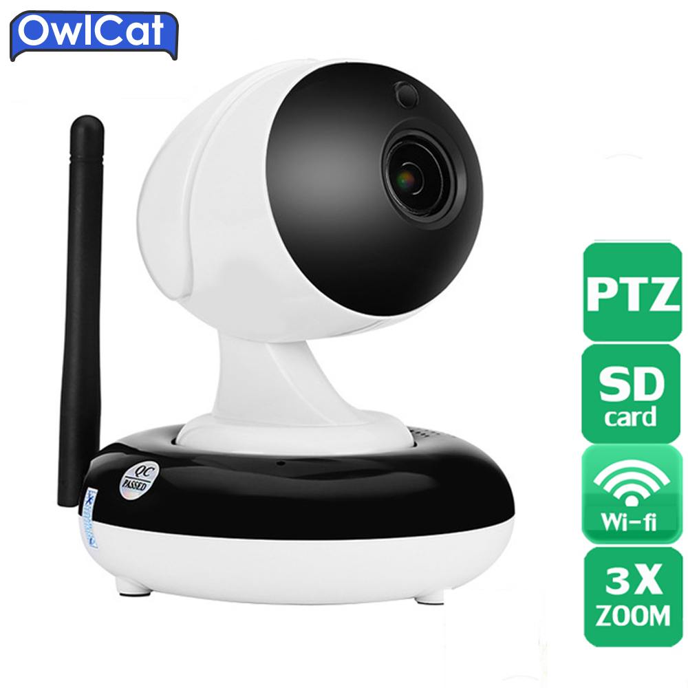 Owlcat Home CCtv Security PTZ WIFI IP Camera HD 960P 1080P 3X Auto Zoom Onvif Onvif P2P Two Way Audio &SD Card Motion Dectection smart mini camera wifi support two way audio night vision sd card onvif motion detect camera with wifi for home security