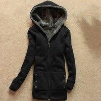 2017 Autumn Winter Long Hooded Sweatshirt Women Coat Warm Thicken Zipper Outerwear Hoodies Jacket Coats