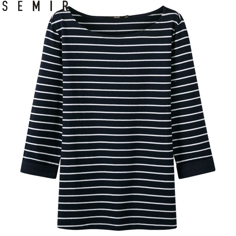 SEMIR new T-shirt for women long sleeve slim tshirt thin stripe intellectual 100% cotton clothes comfort clothing fashion