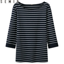 694fb76af SEMIR nova T-shirt para as mulheres manga comprida magro camiseta faixa  fina 100% algodão conforto roupas roupas da moda camiset.