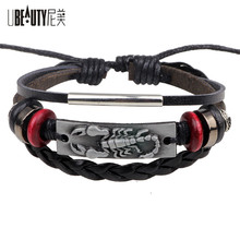 UBEAUTY Vintage Handmade Men Bracelet Fashion Punk Gold / Silver Leather Scorpion Bracelet Men Bracelet Jewelry
