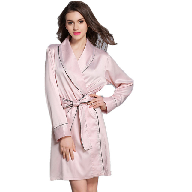 Fashion Satin Faux Silk Robe Solid Winter Sexy Women Bathrobe Home Clothes  Sleepwear Bath Robes Women s 086155da7777