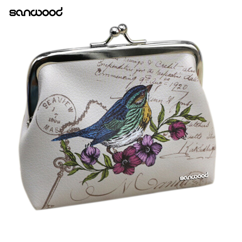 Women Mini Owl Bird Flower Wallet Card Holder Case Coin Purse Clutch Handbag Bag bird patch purse