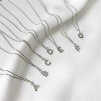 Nouvelle Marque de luxe 26 Lettres Alphabet Nom Colliers et Pendentifs collier femme Réel 925 collier en Argent Sterling Pour Les Femmes Bijoux