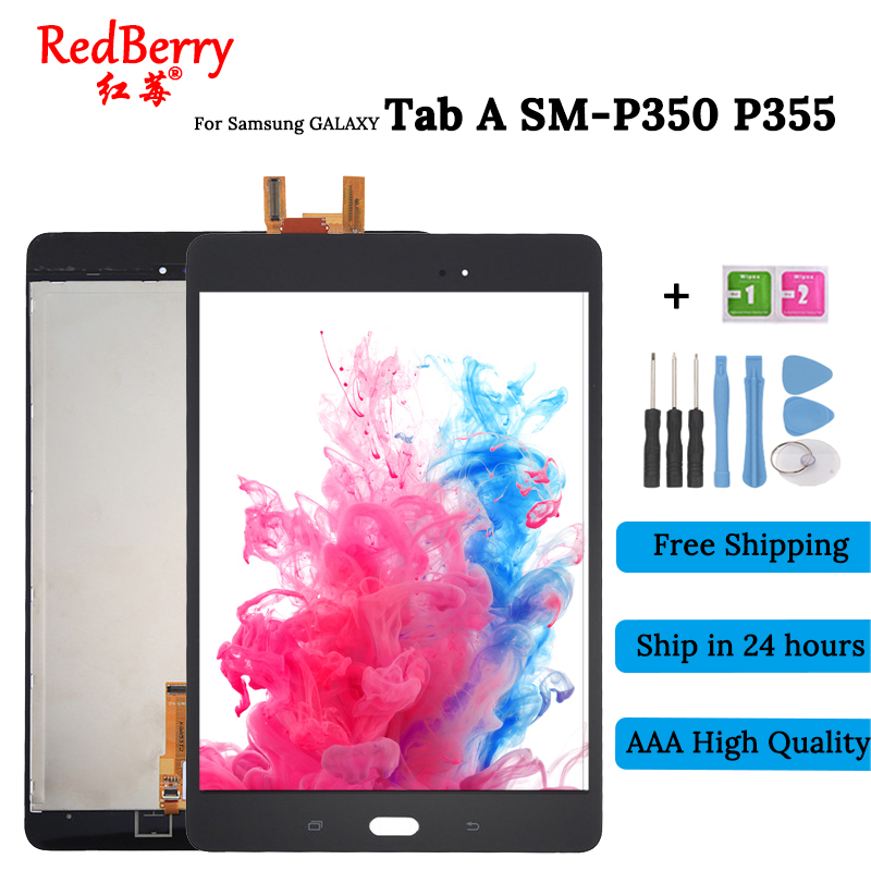 100%Test New 8 For Samsung Galaxy Tab A SM-P350 P350 SM-P355 P355 LCD Display + Touch Screen Digitizer Full Assembly new 8 inch for samsung galaxy tab a sm t350 t350 t351 t355 lcd display matrix touch screen digitizer full assembly t 350