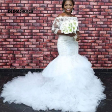 Doragrace Custom Made Gorgeous Half Sleeve Mermaid Wedding Dresses Organza Ruffles Bridal Gowns Plus Size