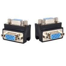 15 Pin VGA SVGA Adapter Female to Female Cable Extender Converter 90 Degree Right Angle Plug for PC TV LCD Monitor VGA Connector high quality 1 male vga to 2 female vga splitter cable 2 way vga svga monitor dual video graphic lcd y splitter cable