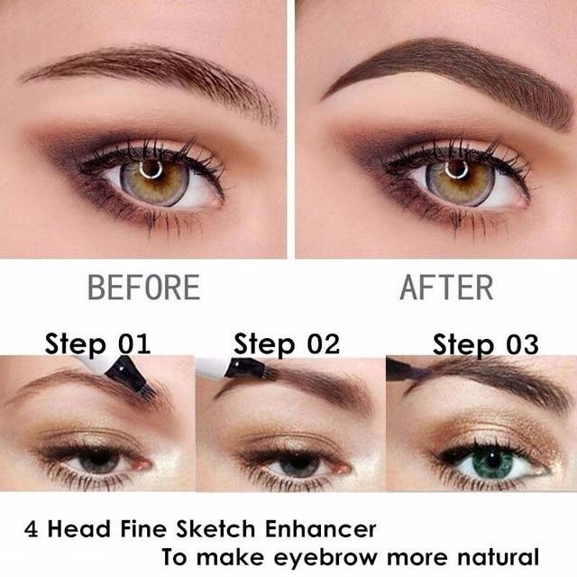 4 Fork Tip Fine Sketch Enhancer Eyebrow Tattoo Pen Waterproof Microblading Eyebrow Tattoo Tint Henna Eyebrow Gel Makeup Tools 1