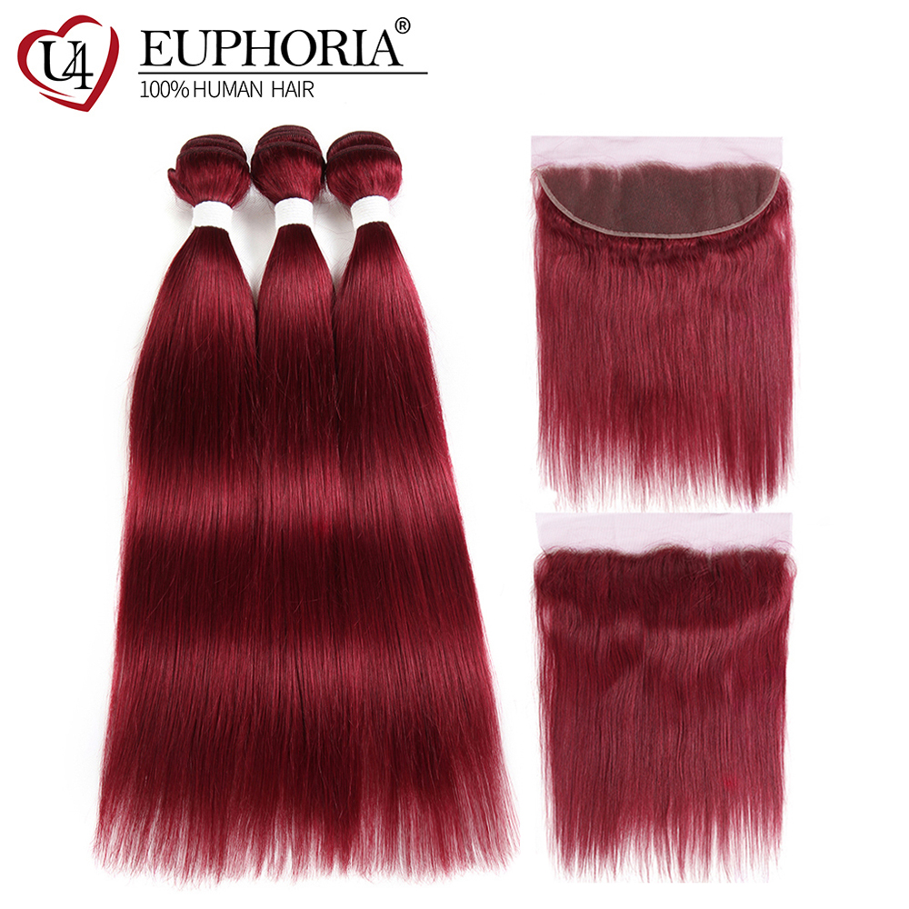 Nice Ali Pearl Hair 99j Bundles With Closure Human Hair Burgundy Brazilian Straight Hair 3 Bundles With Closure Remy Hair Extension Be Friendly In Use Hair Extensions & Wigs