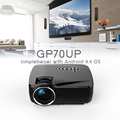 GP70UP Android Mini LED Projector with Google Play Updated by GP70 Portable Proyector 1G RAM 8G ROM Bluetooth Wifi TV Beamer