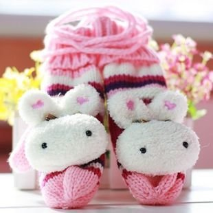 Free Shipping Wholesale 2pairs Rabbit bear plush lady born double head plush nap thick wool add warm glove