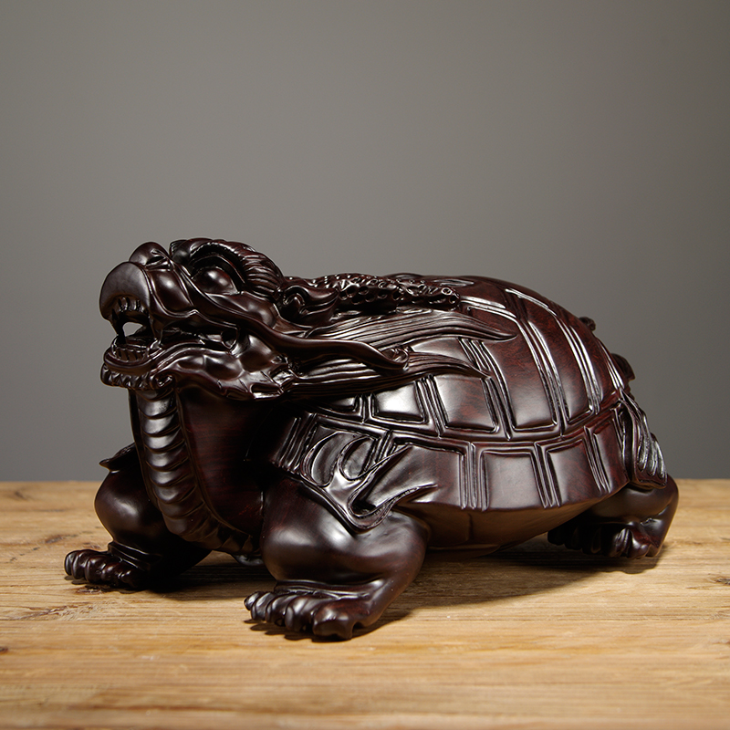 Ebony Carved Dragon Turtle Ornaments Solid Wood Beast Basaltic Car Home Accessories Living Room Feng Shui crafts