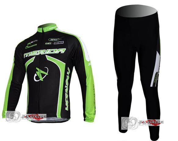 3D Silicone!!! Merida long sleeve cycling wear clothes bicycle/bike/riding jerseys+pants sets black+green