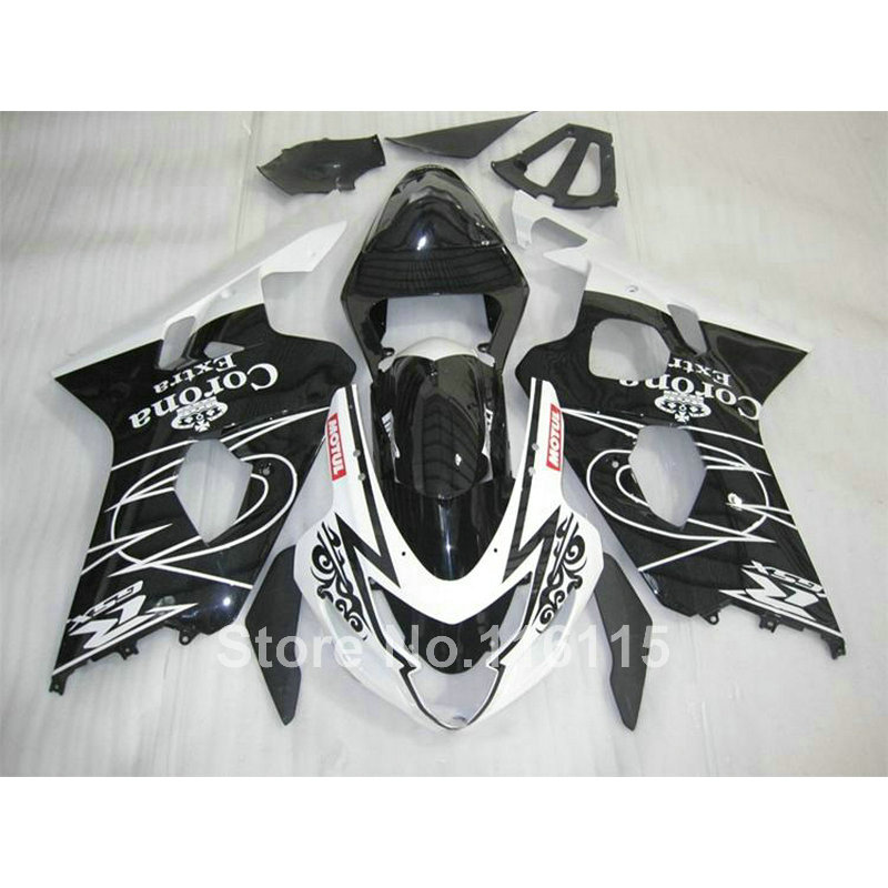 Motorcycle fairing kit for SUZUKI GSXR 600 750 K4 2004 2005 black white Corona GSXR600 GSXR750 04 05 fairings Q735