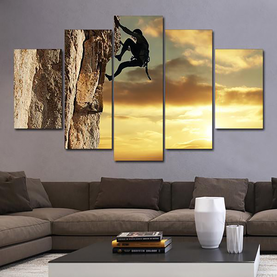 Pictures Home Decor Living Room Canvas Painting Wall 5 Panel Rock ...