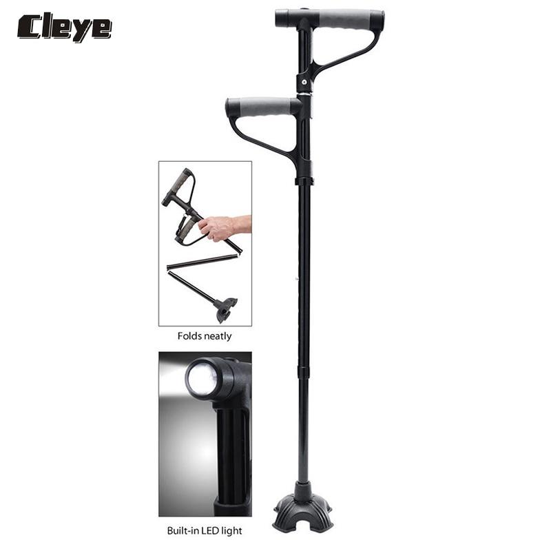 2018 palillos nórdicos profesionales Cleye retráctil viejo apoyabrazos muletas plegable doble mango de caña de luz para personas mayores