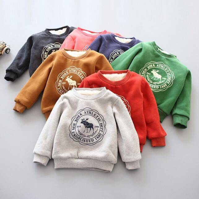 sell 2017 Boy Girls casual Clothes Childrens thick Sweatshirts baby Fawn pattern Casual Kids Plus velvet jackets Tops Costume