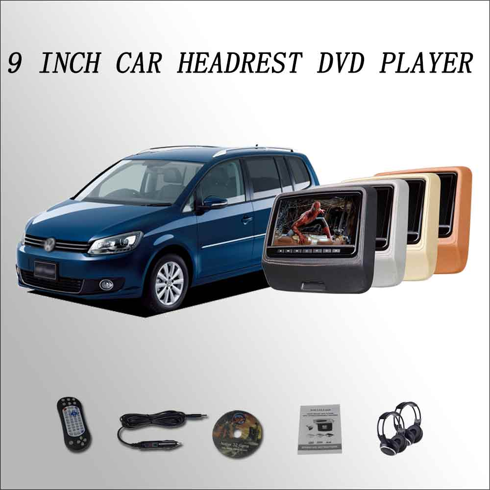 BigBigRoad For Vw Golf Touran Car Headrest Monitor digital LCD screen 2*9 DVD player with USB / SD / IR / FM SPEAKER GAME HDMI