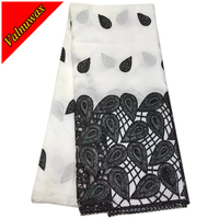White mix Black Color African George Lace Fabric Nigerian George Lace Fabric 5 Yards/Lot For Wedding Party Dress