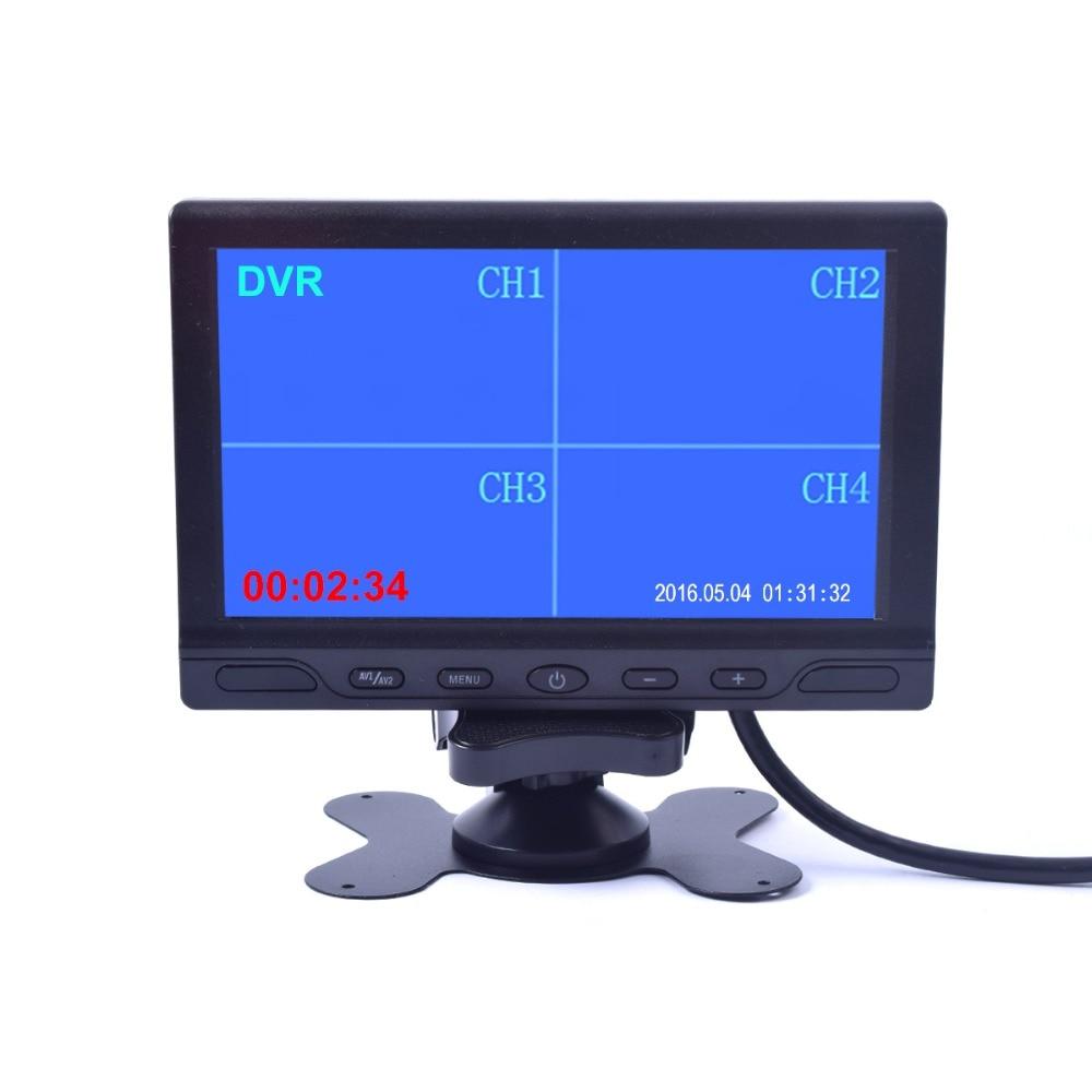 7 дюймов тележки автомобиля четырехъядерный разделить монитор со встроенным DVR Запись видео 4 канала Дисплей Quad RCA Вход для прицепа Кемпер мотор