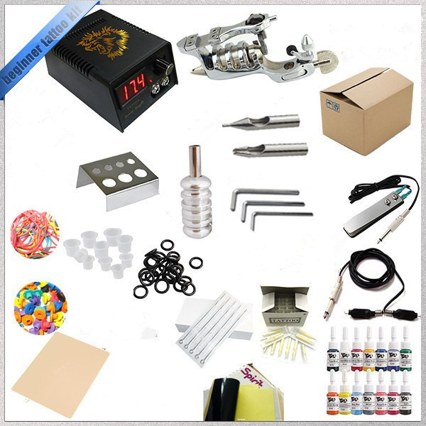 все цены на Professional Tattoo Kit Tattoo Ink Sets Machines Power Supply Needles Permanent Make Up Tattoo Beginner Grips Kits Body Art