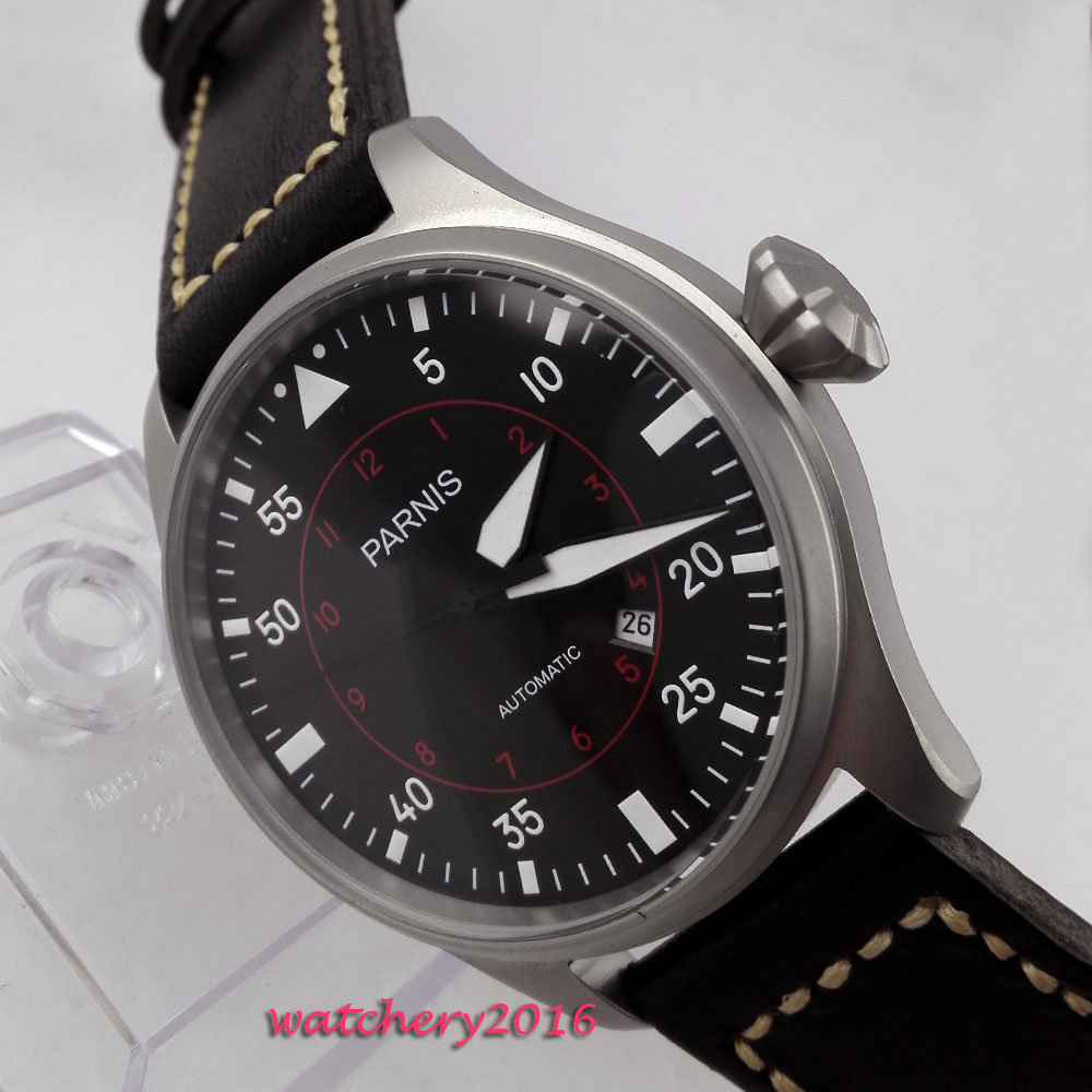 47mm parnis black dial date Leather strap Luminous Marks 21 jewels miyota 8215 automatic mens watch47mm parnis black dial date Leather strap Luminous Marks 21 jewels miyota 8215 automatic mens watch