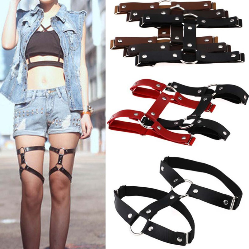 Circle leather Leg chain Sexy Harajuku Punk O Round leg garter sock Harness Adjustable Bondage cosplay goth Foot ring Anklet