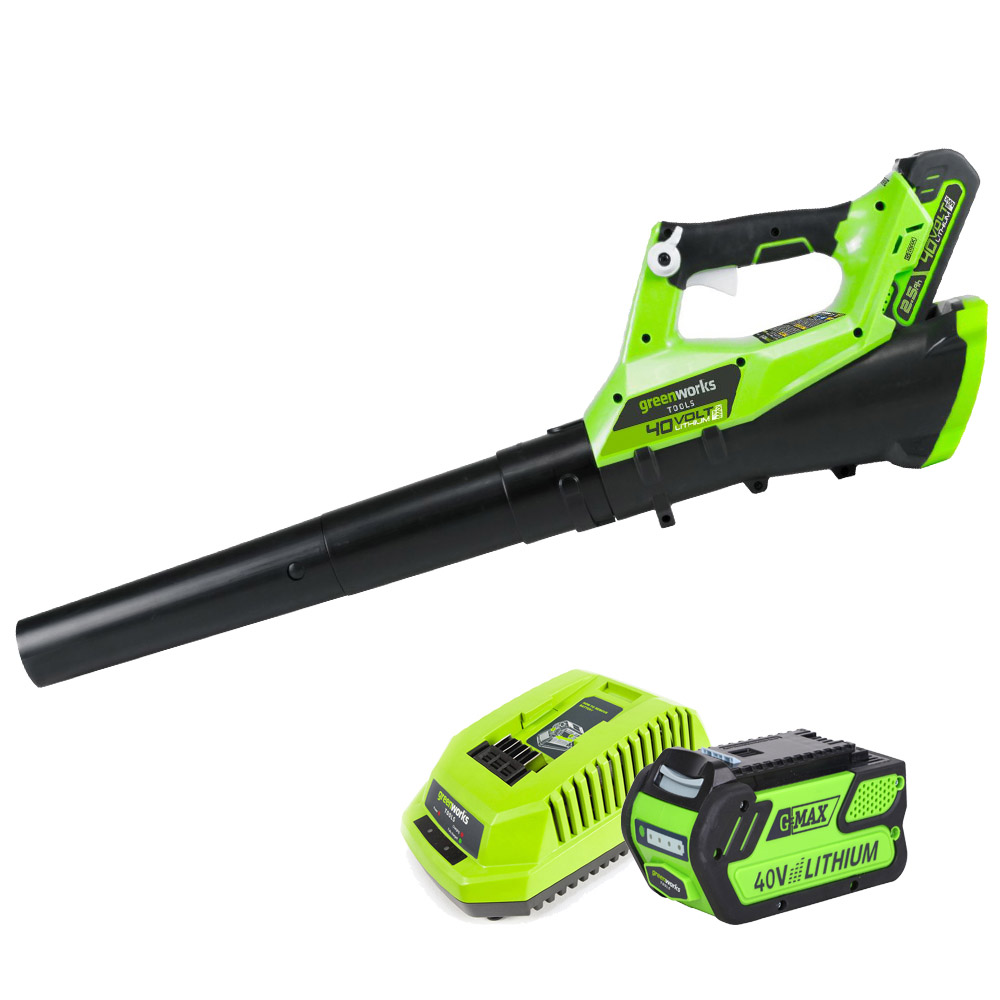 Воздуходув rechargeable GreenWorks G40AB 40V (40 V Li-Ion battery, speed control, working time up to 60 min) nightkonic icr 18500 battery 3 7v 1400mah li ion rechargeable battery green 2 pcs or 4 pcs