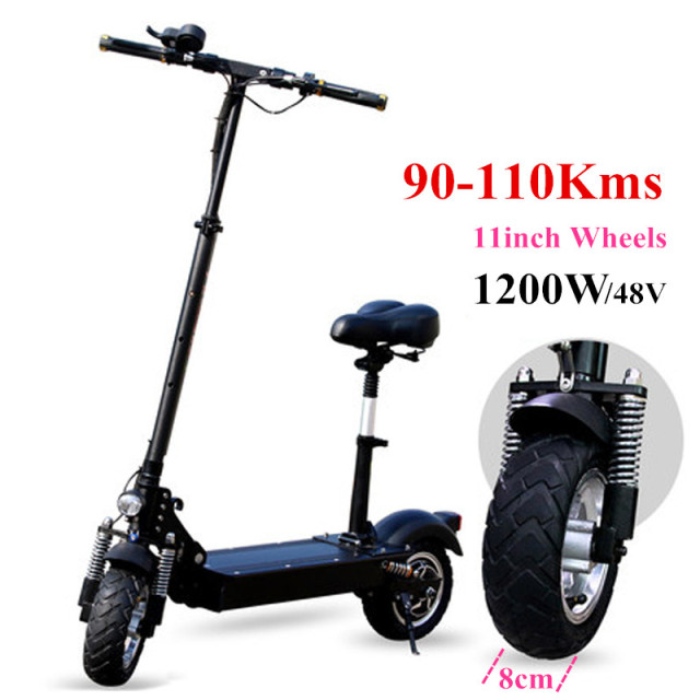 FLJ New Electric Scooter for Adult with seat 10inch 48V/500W 11inch 1200W 1000W kick scooter foldable on road electro bicycle