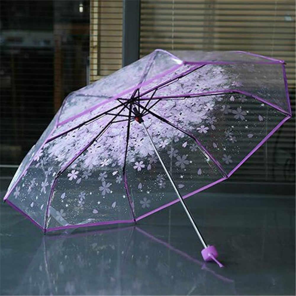 Payung Pria Hujan Wanita Tahan Angin Transparan Bening Payung Cherry Blossom Jamur Apollo Sakura Payung Lipat 3 Persil
