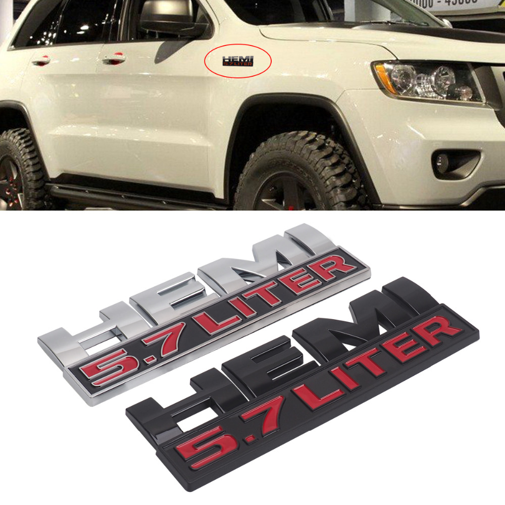 Dodge 5 7 Hemi >> Us 2 73 29 Off 3d Car Sticker 5 7 Hemi Logo Emblem Nameplate Badge Decal For Dodge Ram Jeep Silver Red Car Accessories In Car Stickers From