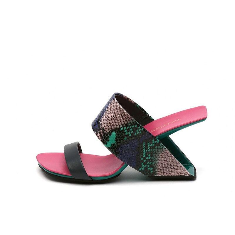 Glisser sandale talon étrange pantoufles femmes été talon haut gladiateur Wedge Sandalias Mujer 5 couleur HL146 MUYISEXI-in Pantoufles from Chaussures    3