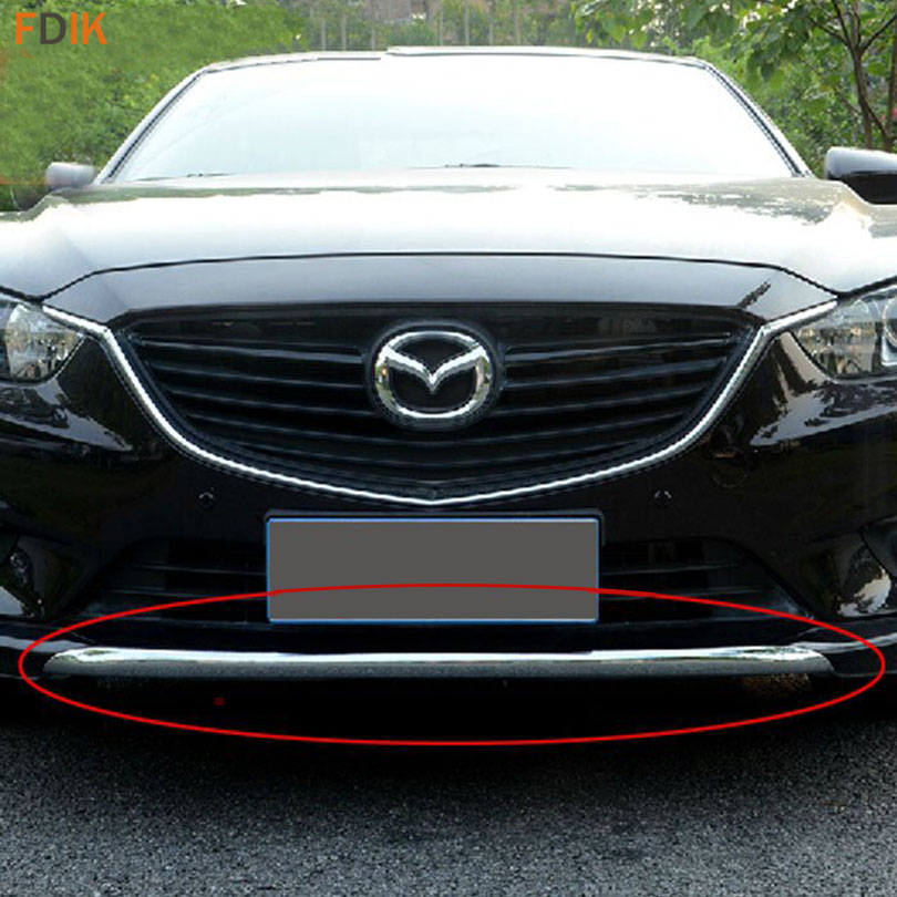 Sport ABS Chrome & Black Front Bumper Molding Trim Cover Garnish for Mazda 6 Atenza M6 2014 2015 2016 1pc chrome abs head front center grill grille bumper trim cover for mazda 6 m6 atenza 2014 2015