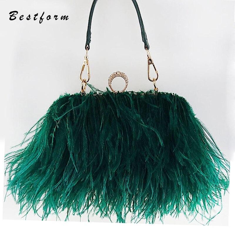 Sacs à main de luxe sacs pour femmes Designer plume d'autruche Sacs À Main Diamant bagues de phalange Dîner de Soirée pochette sac à main avec chaîne