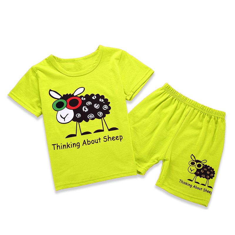 SOGNI KIDS 2017 Summer Cartoon cotton clothes baby boys girls shirts shorts clothing sets T-shirt+pants 2pieces for 2-7Y kids