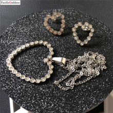 stone Heart Wedding Bridal Jewelry Sets Wedding Jewelry earrings Necklace Sets for Women  ps0002 недорого