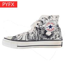 2019 new autumn best-selling ins anime hand-painted road graffiti High help belt thick bottom flat Mens Fashion Shoes