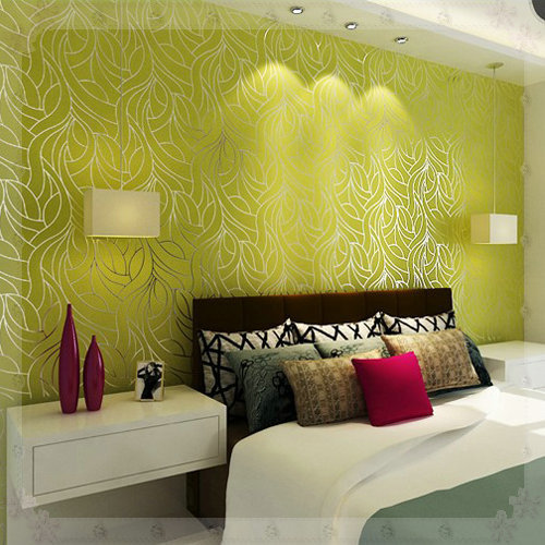 Green wallpaper feature wall living room living room for Green bedroom wallpaper