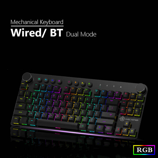 US $53 99 34% OFF|MAGIC REFINER MK11 Mechanical Gaming Keyboard Wired USB  and Wireless BT 3 0 RGB Backlight Switchable 87 keys Gaming Keyboard-in