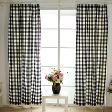 цена на Classical style black and white grid cloth curtains semi shade plaid cloth curtains for bedroom and living room cotton fabric