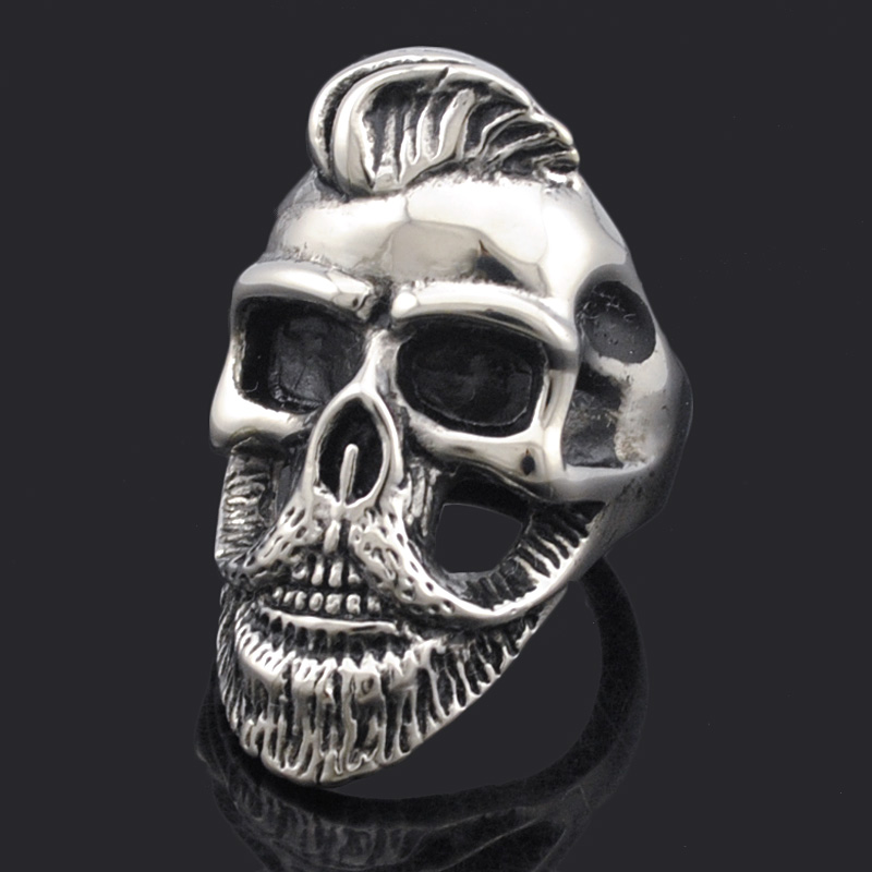 ATGO Rock Punk Fashion Hairstyle Beard Skull Hooded Rings For Men Stainless Steel Cool Charm Jewelry Party Gifts BR408 Борода